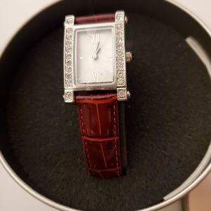 3for$25 Loft Red faux skin genuine lather watch